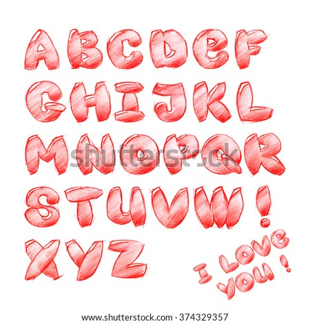 Red Bright Children Cartoon Fun Alphabet. Scan Sketch Hand Drawing. Illustration