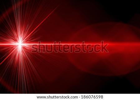 Red, bright laser beam - stock photo