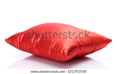 red bright pillow isolated on white - stock photo