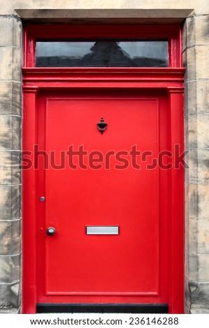 Red British House Door - stock photo