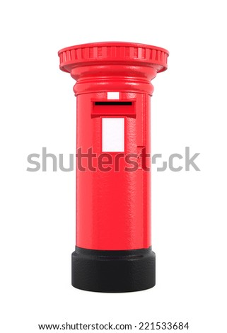 Red British postbox isolated on white background - stock photo