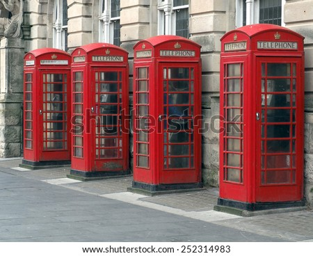 Red British telephone boxes