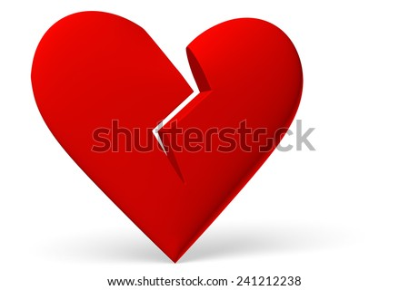 Red broken heart symbol isolated on white background, 3D illustration, diagonal view