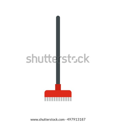 Red broom icon in flat style isolated on white background. Cleaning symbol  illustration