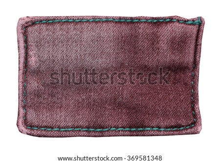 red-brown jeans label on white background