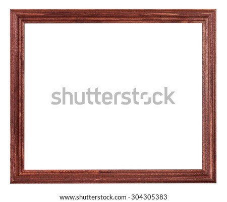 red brown painted narrow wooden picture frame with cut out blank space isolated on white background