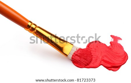 Red brushstrokes on a white background. - stock photo