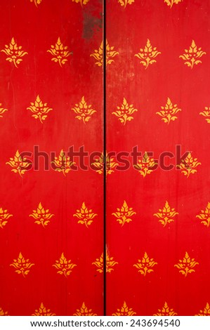 Red buddhist temple door - stock photo