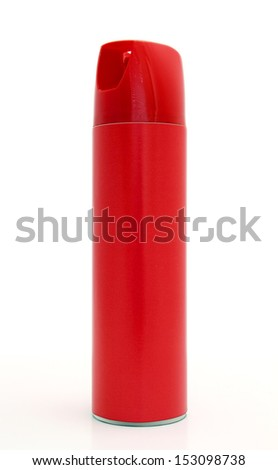 Red bug spray can isolated on white. - stock photo