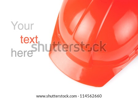 Red build helmet closeup with space to text - stock photo