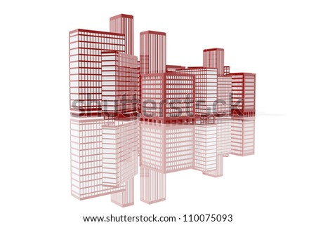 Red buildings in the city