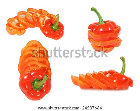 Red Bulgarian pepper  isolated on the white background - stock photo