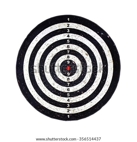 Red bulls eye on a dart bord, isolated on white
