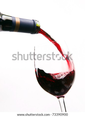 Red Burgundy Wine Filling the Stemmed Glass Alcohol Refreshment - stock photo
