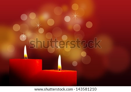 Red burning candles - stock photo