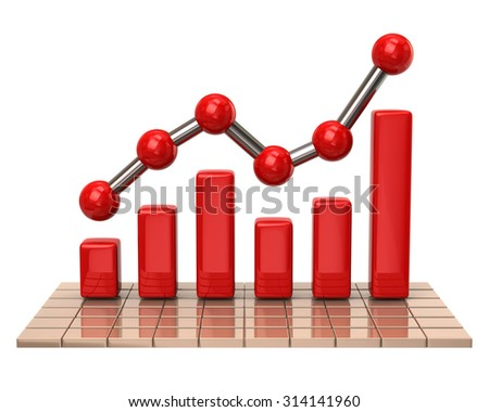 Red business graph and chart on white background - stock photo