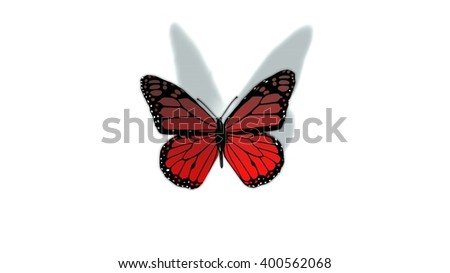 red butterfly isolated on white - stock photo