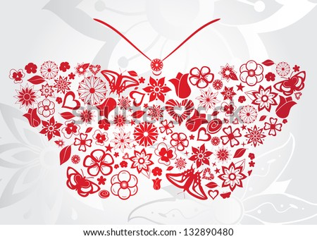 Red butterfly with flowers, leaves, butterflies, and other objects. Raster version. - stock photo