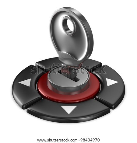 red button and key on white background. Isolated 3D image - stock photo