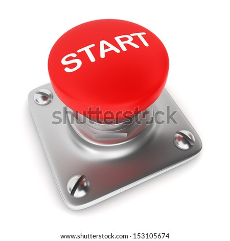 Red button. 3d illustration on white background