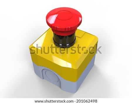 Red button emergency switch isolated on white - stock photo