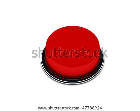 Red button isolated on white background. High quality 3d render. - stock photo