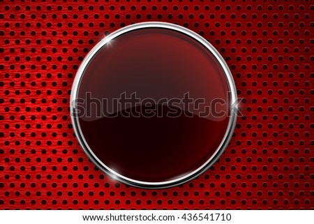 Red button on perforated metal background. Illustration. Raster version - stock photo