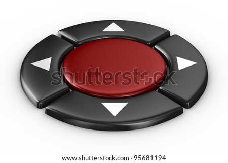 red button on white background. Isolated 3D image - stock photo