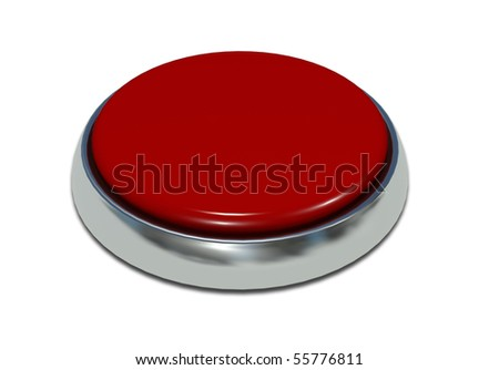 Red button with a metal edging and an inscription