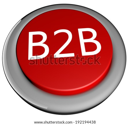"""Red button with text """"B2B"""", isolated over white, 3d render - stock photo"""