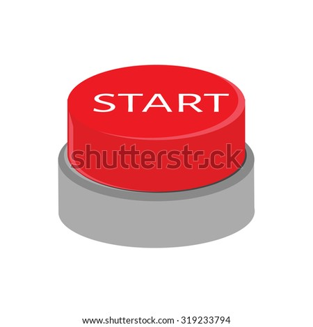 Red button with text start illustration. Start button. 3d red button