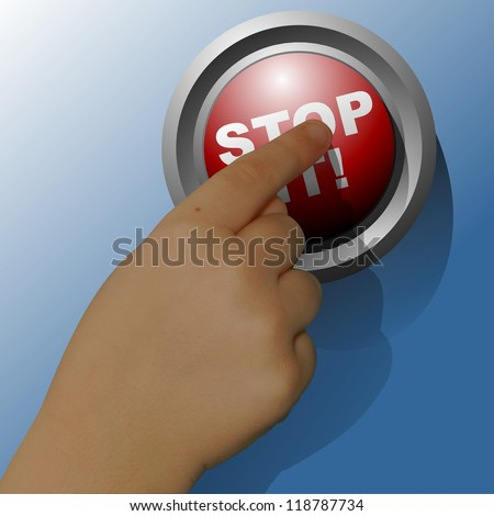 Red button with the words stop it printed on it and child's finger pressing it - stock photo