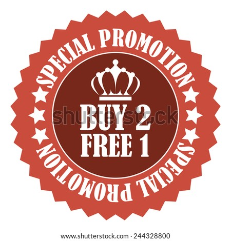 red buy 2 free 1 special promotion promotional sale icon, tag, label, badge, sign, sticker isolated on white  - stock photo