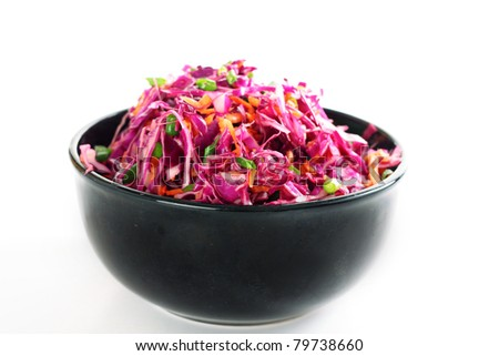 red cabbage coleslaw in bowl on white - stock photo
