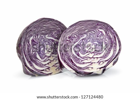 Red cabbage cut isolated over a white background. - stock photo