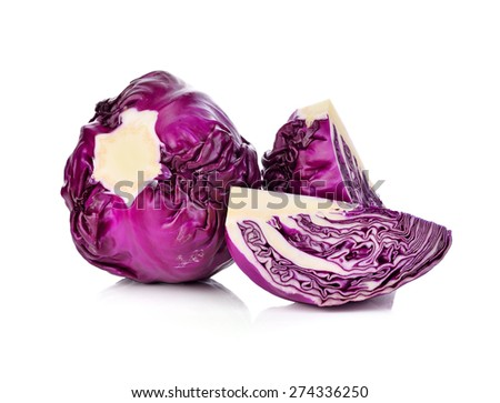 red cabbage isolated on white - stock photo