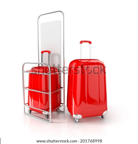 red cabin baggage in allowed dimensions. 3d illustration isolated on white background - stock photo