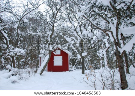 Red cabin in a swedish winter landscape