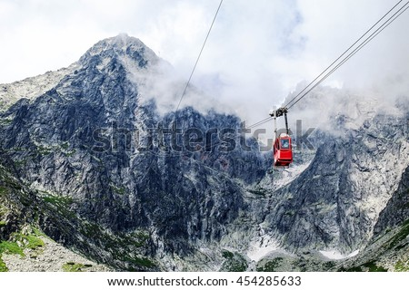 Red cable car to the mountain