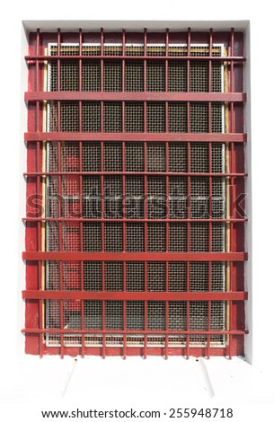 red cage window - stock photo