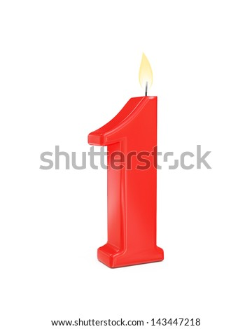 red cake candle number one - 1 isolated on white background - stock photo