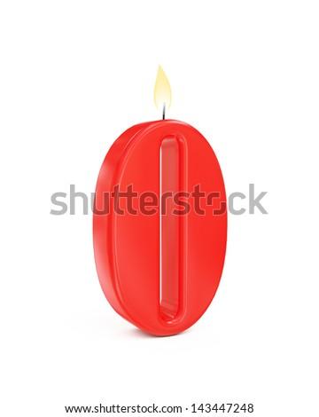 red cake candle number zero - 0 isolated on white background - stock photo