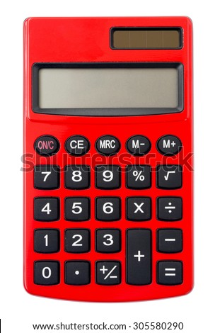 Red Calculator isolated on white background.
