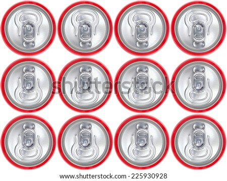 Red can of soda background, view from the top - stock photo