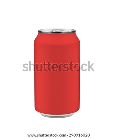 Red can of soda isolated on white