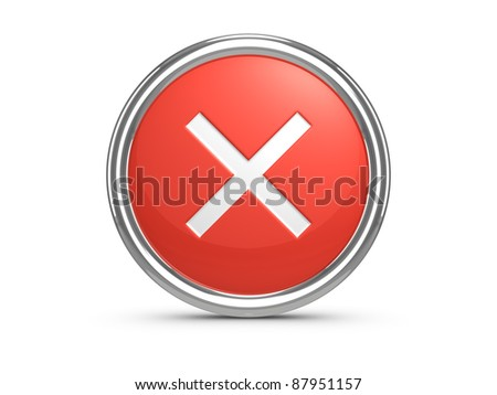 Red Cancel sign. 3d illustration. - stock photo