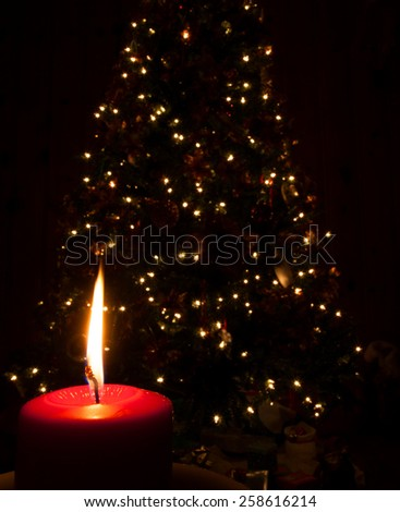 Red candle burning with a Christmas tree behind - stock photo