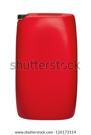 red canister in white back - stock photo