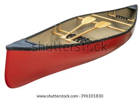 red canoe with a pair of wooden paddles,  isolated on white - stock photo