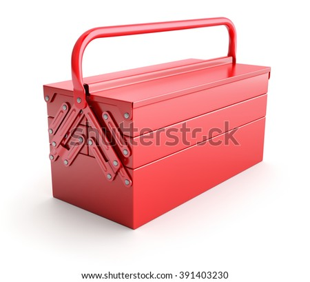 Red cantilever tool box